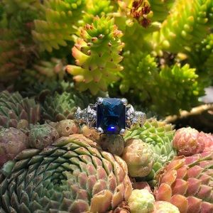 Mermaids Blue Sapphire Sterling Silver Ring Sz 9